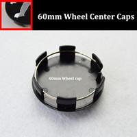 Wholesale Wheel Center Hub Cap Peugeot - 60mm 2.36INCH auto wheel center hub caps black silver car emblem wheel center caps for peugeot 206 307 308 408 3008 301 car styling