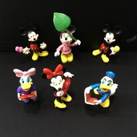 Wholesale Wholesale Collectible Figurines - 6Pcs Lot Mickey Mouse Anime PVC Action Figures Minnie Mouse Anime Figure Figurines Collectible Dolls Kids Toys For Girls