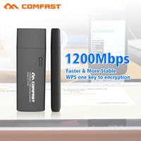 Wholesale Dual Port Network Card - Wholesale- COMFAST Gigabit 1200mbps 11AC 802.11ac dual band 2.4G+5G usb 3.0 port wireless network card portable wifi Wireless wifi adapter