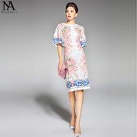 Wholesale Elegant Print Runway Dress - 2017 New Arrival Women's O Neck Half Flare Sleeves Appliques Flowers Printed Straight Elegant Runway Dresses
