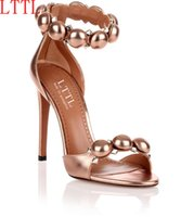 Wholesale Simple Style Sandals - LTTL 2017 Summer Women Shoes Simple Style High Heels Sandals Rivets Peep Toe Thin Heels Shoes Women Ball Buckle Pumps