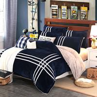 fleece warme bettbezüge großhandel-Wholesale-MECEROCK 2016 Herbst und Winter warme Flanell Bettwäsche Sets Fleece Bettbezug Spannbetttuch Bett Tuch