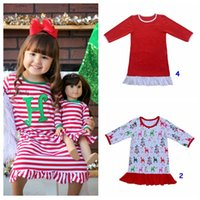 Wholesale christmas pajamas for children cotton - Children Ruffle Dress Girls Christmas Cotton Deer Stripe print Pajamas Red And White Stripe Dress 7colors 8size for 12M-12T