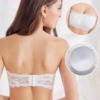 621d3a1bc0a86 Lady slip strapless bra in spring and summer contact gather thin half cup  bra bra underwear black white wedding dress