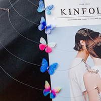 Wholesale Rhinestone Tattoos - 8 Colors 3D Crystal Butterfly Tattoo Chokers Necklace Transparent Fishing Line Neck Collar Fashion Beach Wedding Jewely Gift Drop Shipping