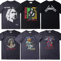 Wholesale flashing tshirts - 2017 Kurt Cobain Fear Of God Metallica NIRVANA Rock Real Tag T Shirt Men Kanye West Justin Bieber Short Tee TShirts
