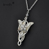 Wholesale Evenstar Gold - the lord of silver plated Arwen Evenstar Pendant necklace crystal arwen necklace Hobbit Aragorn movies women fashion jewelry