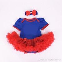 bebek avengers çizgi film toptan satış-Çocuk Avengers kısa kollu tutu tulum elbise + bow bantlar yeni karikatür kız Karikatür bebek rompers elbise C001