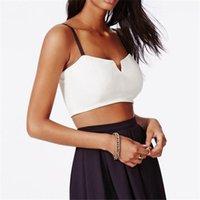 Wholesale Deep Cut Vests - Wholesale- New Hot Sexy Women Deep V-neck Short Vest Slim Cut Bra Adjustable Sling Strap Blouse