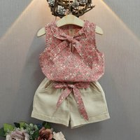 Wholesale Infant Wear Sets - Fashion Summer 2017 Children Clothes Kids Clothing baby Girl Suit Outfits Flower printing bow Vest Tops short pants set Infant Wear A259