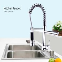 Wholesale Deck Mounted Kitchen Sink Faucet - Pull UP& Down With Sprayer Kitchen Sink Mixer Tap Chrome Faucet 97168