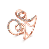 Wholesale Ring Adjustable Brass - 2017 New Arrival Exaggerated Open Adjustable Rings for Women Rose Gold-Color Classic Cubic Zirconia Twist Knuckle Ring Fashion Jewelry R038