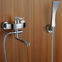 Wholesale Wall Taps Set - Chrome Finished Brass Bathtub Faucets Wall Mounted Hot And Cold Mixer Taps Sets With Handheld Shower Faucet