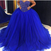 Wholesale Tulle Skirt Quinceanera Dresses - Royal Blue Puffy Tulle Ball Gown Wedding Dresses Bridal Gowns Sweetheart Beaded Plus Size Quinceanera Dresses Custom Made