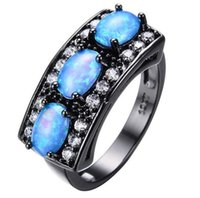 Wholesale Gorgeous Opal - Gorgeous Blue Fire Opal Rings For Women Men Black Gold Filled Wedding Party Engagement Promise Ring Love Jewelry