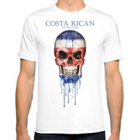 Wholesale Mens Flag T Shirt - Costa Rica Skull flag New Fashion Man T-Shirt Cotton O Neck Mens Short Sleeve Mens tshirt Male Tops Tees Wholesale