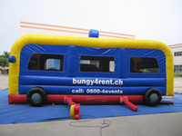 Wholesale Playground Toys For Children - AOQI kids inflatable toy trampoline jumping bouncer mini playground bus inflatable bounce house for children with EN14960 certificate