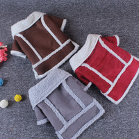 Wholesale Small Cotton Doggie Clothes - 2017 New Winter Warm Pet Coat Puppy Dog Clothes Fashion Dogs Jacket Fleece Doggie Locomotive Vest Pet Apparel, Coffe Red Gray