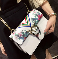 Shoulder Bags organ printing - Factory outlet handbag summer new organ small bread euramerican fashion trend in printing chain package birds lock leather shoulder bag