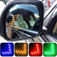 Barato Espelhos De Sinal Lateral-Universal Car Amber Arrow Panel Amarelo 14 SMD LED Car Side Mirror Indicador de visão traseira Turn Signal Light Lamp