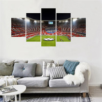 pinturas de fútbol al por mayor-5 Panel Fútbol Playground World Cup Paintings Living Room Fan Soccer Pictures Decoración Del Hogar Arte de La Pared Cartel de la Lona Y Impresiones