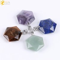 Wholesale Faceted Jade - CSJA Faceted Stars Hexagon Charming Necklace Pendants for Men & Women Healing Balance Reiki Natural Stone Green Jade Fashion Jewelry E643 A