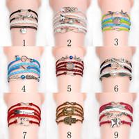 Wholesale Women S Infinity Bracelet - Fashion Infinity Bracelets leather stainless steel charm bracelet various activities wearing bracelet 34 Designs Women 's bracelet