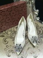 Wholesale White Jeweled High Heels - (superior quality) D& lace shoes Jeweled shoes rainbow diamond wedding shoes sheepskin lining