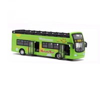 Wholesale Toy Buses For Kids - Double Decker Bus Sightseeing Car Toy With Sound And Light Christmas Gift For Kids Children Green or Red Color
