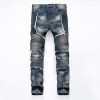 Wholesale French Jeans - Wholesale-2016Fashion Brand Men biker eans Men Jeans High Quality French esigner Men's Jeans Big Size tide pants