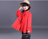 Wholesale Trench Coat Unisex Wholesale - Winter Baby Outwear Girl Woolen Coat Long Sleeve Big Bow Jacket Windbreaker Fashion Single-Breasted Trench Coats 7 p l