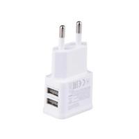 iphone taşınabilir güç kaynağı toptan satış-5 V 2A Taşınabilir Iki Port USB Seyahat Ev Duvar Şarj AB Tak Cep Telefonu Samsung Iphone Için USB Güç Kaynağı Adaptörü