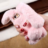 Wholesale Wholesale Iphone Bunny Case - for iPhone 6s TPU Bag Cover Cute Cases Rabbit Bunny Warm Furry Rabbit Fur TPU Phone Case for iPhone 6 6s Plus iPhone 7 7 Plus SE