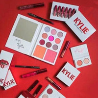 Wholesale Glitter Lip Gloss Wholesale - 2017 Kylie shadow Duos Valentine Collection Double Eye Shadow 2 Mini Lip Gloss Kylie Jenner Lipstick Matte Glitter Kylie Eyeshadow Set