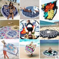 Wholesale Wholesale Cotton Tablecloth - Round Mandala Beach Towel Tassel Tapestry Hippy Boho Tablecloth Bohemian Serviette Covers Beach Shawl Indian Wrap Picnic Mat CCA5655 5pcs