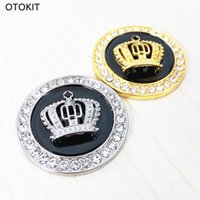 Wholesale Stickers Diamonds - Metal Car Styling Decoration Stickers Fine Bling Crystal Diamond Crown Emblem Personality Car Body Sticker Accessories