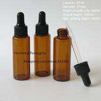 Wholesale Amber Dropper Bottles Oz - Wholesale- 500 x 30ml amber glass dropper bottle, dropper glass bottle 1 oz brown glass bottle with black dropper
