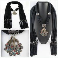 Wholesale Neck Scarf Pendants Jewelry - Plain Solid color peacock Pendant Scarf Neck Scarves jewelry NECKLACE PENDANT SCARF