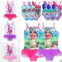 Wholesale Net Bathing Suits - Girls Swimwear Cartoon Trolls Moana One Pieces Net Yarn Swimsuits Kids Ruffled Swimming Suit For Girl Bathing Suit Beach Wear Kids Swimsuit