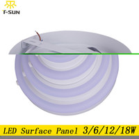 Wholesale Led Recessed Ceiling Light Color - Wholesale- LED panel light surface mounted Downlight 3W 6W 12W 18W double color LED recessed ceiling lamp light SMD2835 AC85-265V