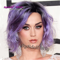 Wholesale Short Curly Purple Wig - Glam Celebrity Katy Perry Hairstyle Wig Synthetic Short Wavy Two Tone Black Root Ombre Patel Purple Color Hair Wigs