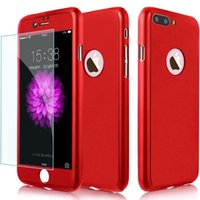 Wholesale iphone red screen protector - For iPhone X 360 Degree Case Cover with Tempered Glass Screen Protector Full Body Cover For iPhone 7 8 Plus Galaxy S8 Note 8 J7 prime