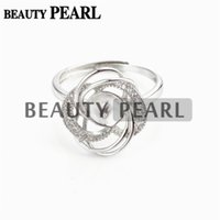 Wholesale Luxury Pearl Rings - Bulk of 3 Pieces Pearl Ring Settings Luxury Design 925 Sterling Silver Cubic Zirconia Floral Ring Semi Mounts