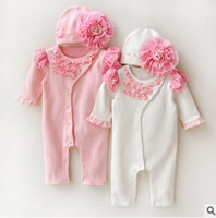 Wholesale Wholesale Clothing Snaps - Baby outfits INS babies kids ruffle lace snap fastener jumpsuits+stereo gauze flowers hat 2pc clothing sets baby autunm cotton clothes T3949