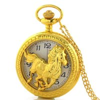 Wholesale Steampunk Wholesalers - Wholesale-High Quality Retro Vine Steampunk Gold Horse Hollow Pocket Watch Necklace mens jewelry