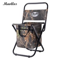 Atacado- Mavllos Camouflage Camping Chair Cadeira de esqueleto portátil de alumínio Outdoor Ultralight Foldable Fishing Chair Multifuncional