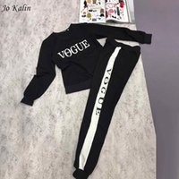 Wholesale New Fashion Suits For Women - New Autumn Winter 2017 Women 2 piece clothing set casual fashion Vogue sweatshirt+ long pants tracksuit for women hoodie suit