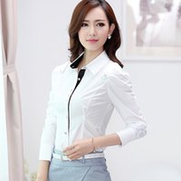 Wholesale Long Sleeve Professional Clothing - 2016 spring new long sleeved white shirt lapel OL fashion women's professional dress shirt working clothes