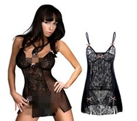 Wholesale Fun Sexy Pajamas - Europe and the United States Side Of The Split High - End Deep V Skirt Perspective Fitted Black Lace Sexy Dress Skirt Fun Pajamas