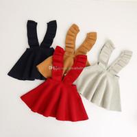 Wholesale baby knit vests resale online - Baby girls strap Knitted dress Kids Christmas costume children Wooden ear sleeveless Vest dress C2925